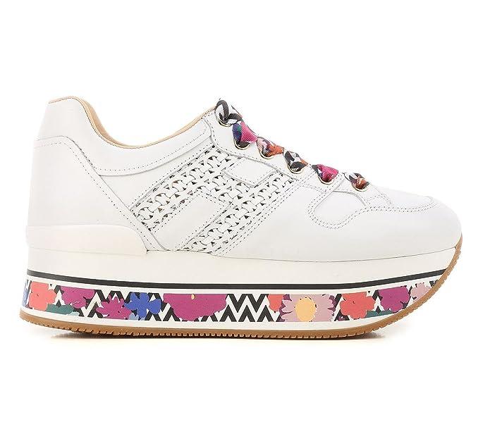Hogan scarpe donna H348 maxiplatform H intrecciato HXW3480K040I6SB001 bianca