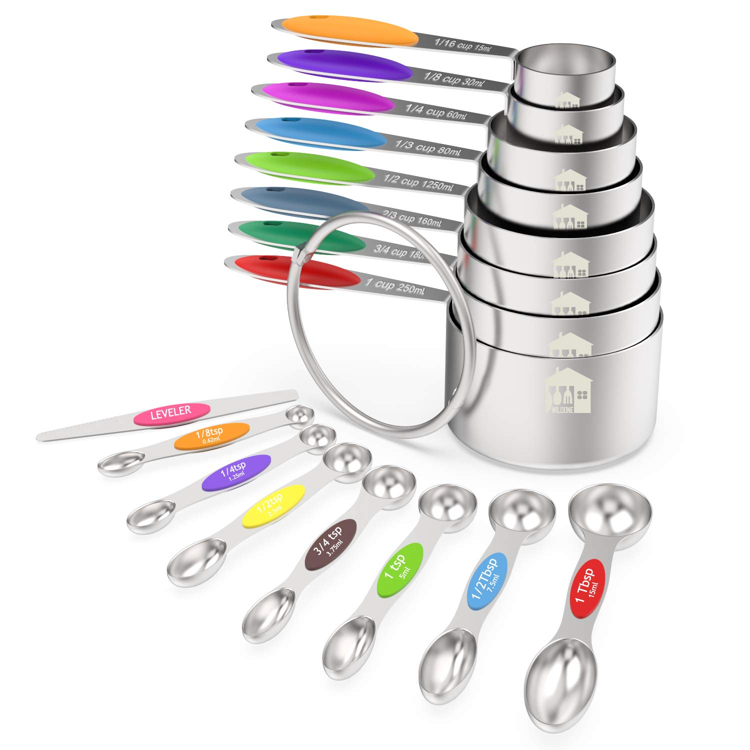 Measuring Cups and Magnetic Measuring Spoons Set, Wildone Stainless Steel 16 Piece Set, 8 Measuring Cups & 7 Double Sided Stackable Magnetic Measuring Spoons & 1 Leveler