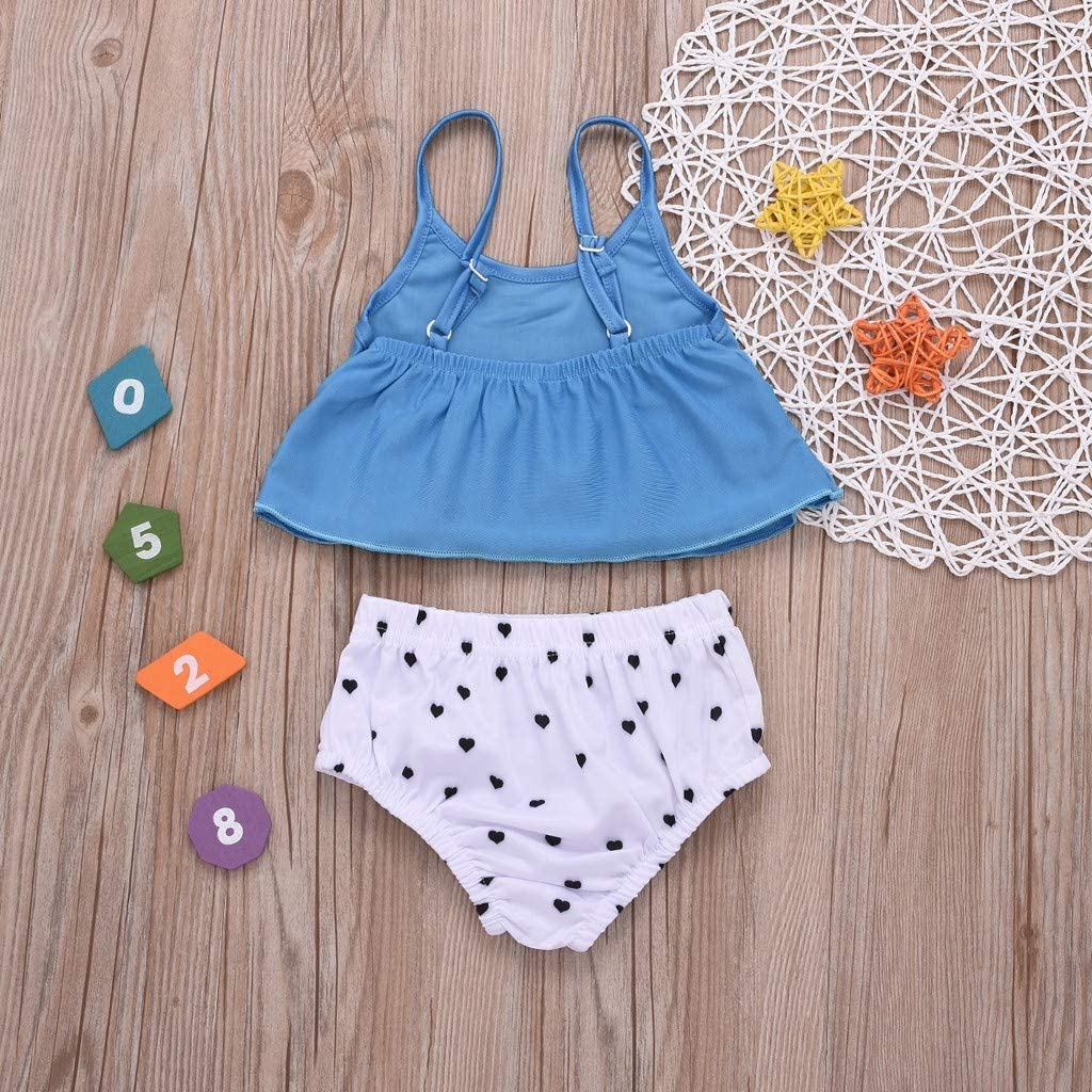 Two-Piece Toddler Kids Girl Love Doodle Swimwear Swimsuit Bathing Suit Clothes Set by GorNorriss
