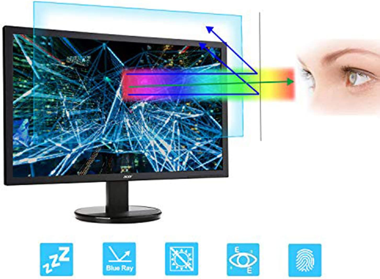 24 Inch Monitor Screen Protector -Blue Light Filter, FORITO Eye Protection Blue Light Blocking Anti Glare Screen Protector Compatible 24 Inch 16: 9 Desktop Monitor