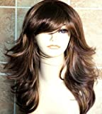 Kalyss Synthetic Brown with Highlights Wig with Hair Bangs Women's Long Curly Wavy Natural Layers Full Hair Wig for Women