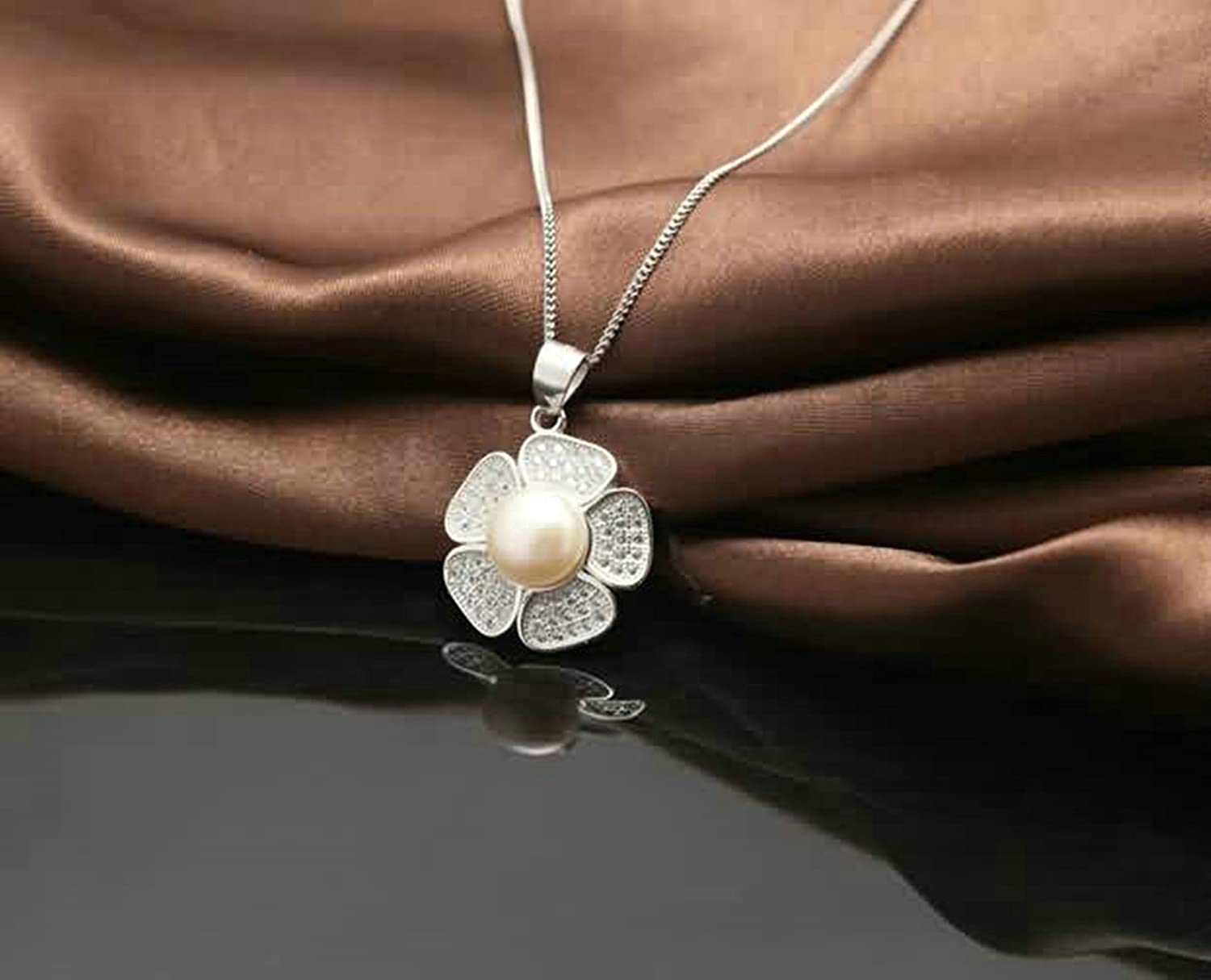 AMDXD Jewelry Sterling Silver Pendant Necklaces for Women Plumeria White 2.5X1.8CM