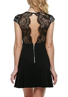 Zeagoo Damen Kleid Sommer Sexy V-Ausschnitt Spitzenkleid Floral Rückenfrei  Cocktailkleid Partykleid Skaterkleid c0c8a73b0c