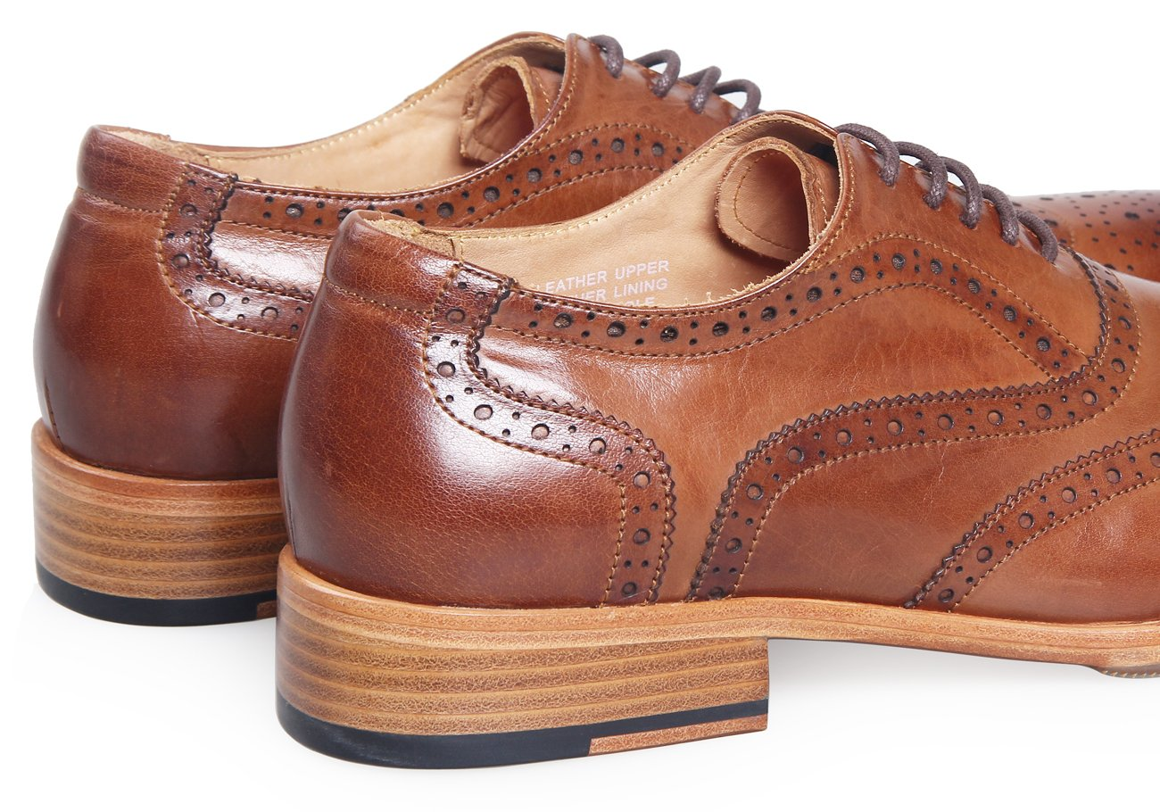 ELANROMAN Men Cap-toe Brown Leather Lining Bussiness Oxford Leather Dress Shoes for Wedding/White Collar by ELANROMAN (Image #4)