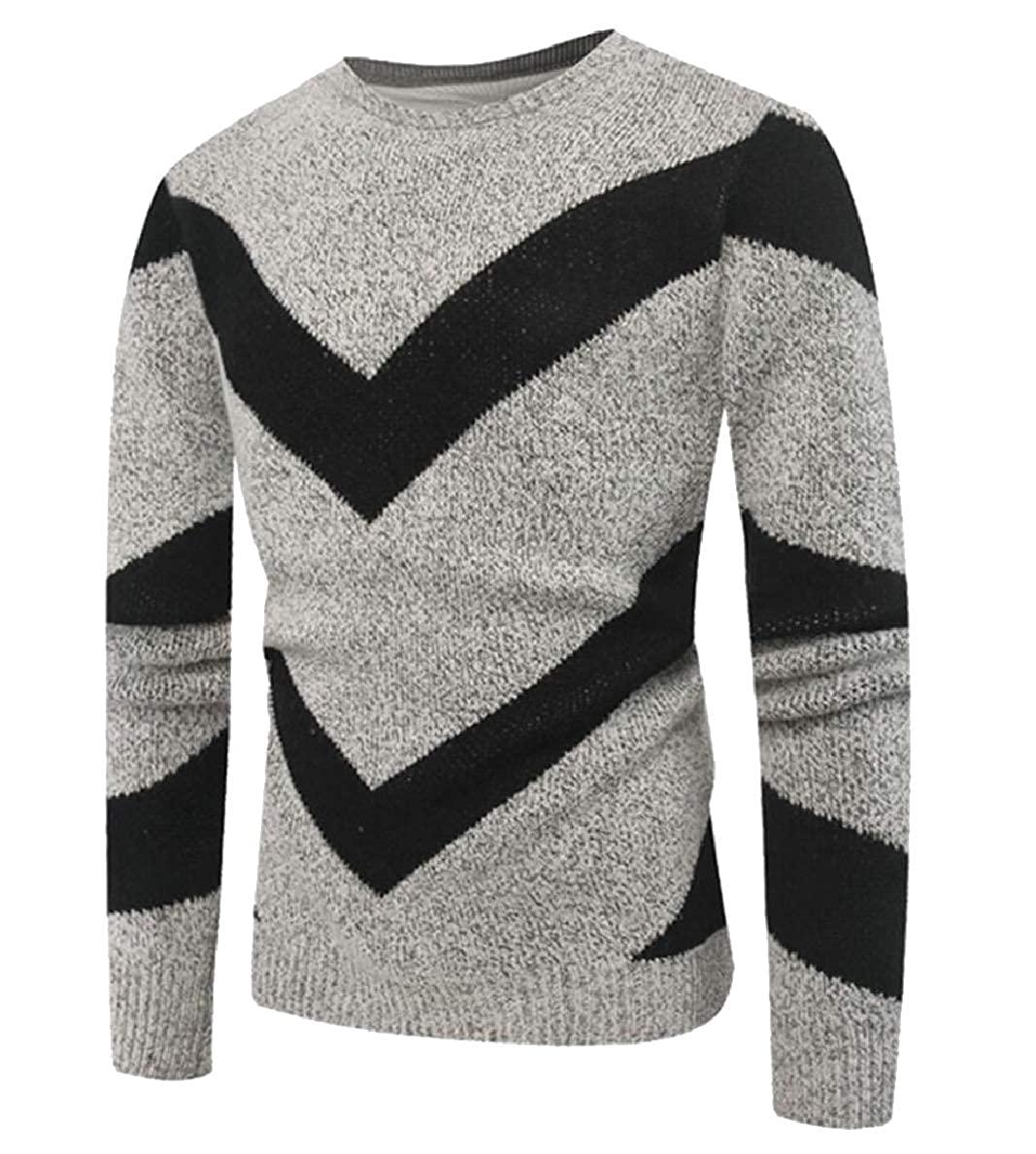 FLCH+YIGE Mens Autumn Color Block Knitted Long Sleeve Crew Neck Pullover Sweaters