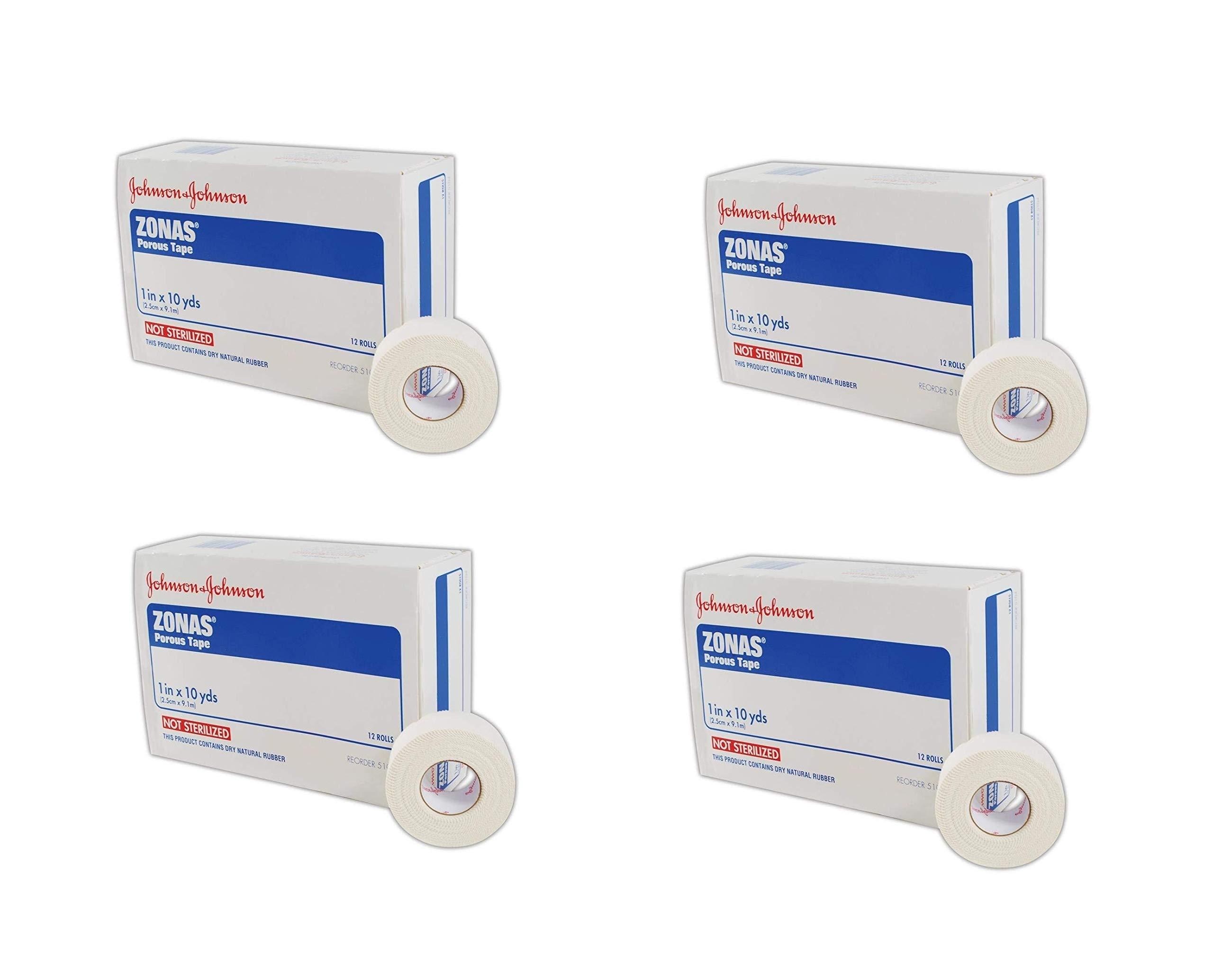 Johnson & Johnson JJ5104 Zonas Porous Adhesive Tape, 1'' x 10'', White, 12 Count (4 Pack)