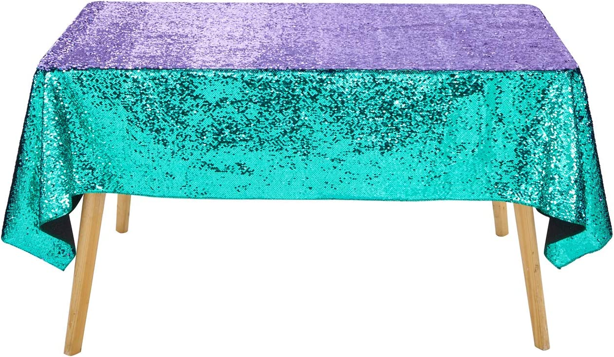 Seamless 50x80 Inch Turquoise to Purple Mermaid Tablecloth Rectangle Mermaid Sequin Tablecloth Turquoise Mermaid Theme Aqua Table Cover for Baby Shower Lavender Tablecloth Mermaid Birthday Party Decor