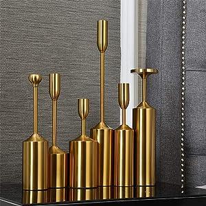 VINCIGANT Set of 6 Vintage Metal Pillar Candlestick Holders for Home Decor Wedding Centerpieces