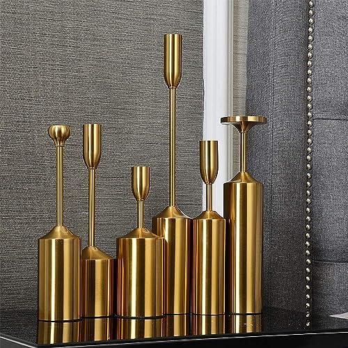 VINCIGANT Set of 6 Vintage Metal Candlestick Holders
