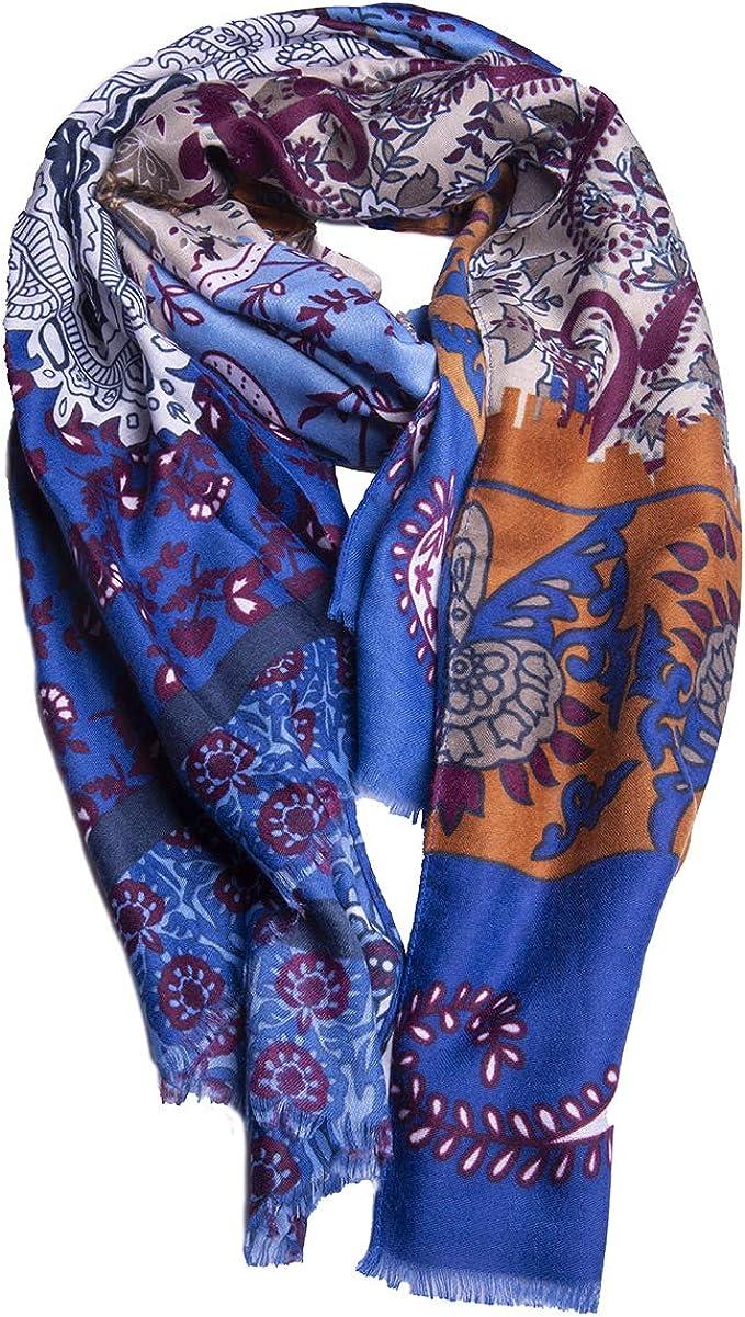 Montecristo Sciarpa Foulard Pashmina Uomo Donna Unisex Seta Rasata Calda Naturale Morbida Fashion Eco-friendly Fantasia Taglia unica 85 x 190 cm Idea regalo