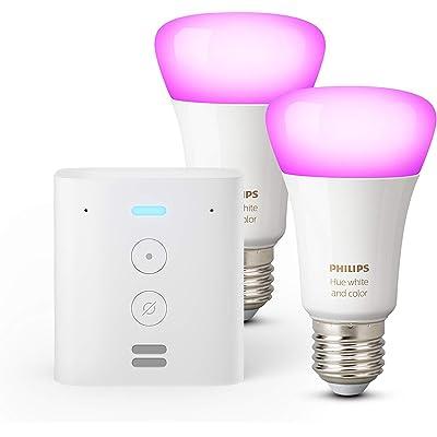 Echo Flex + Philips Hue White & Color Ambiance Pack de 2 bombillas LED inteligentes, compatible con Bluetooth y Zigbee, no se requiere controlador