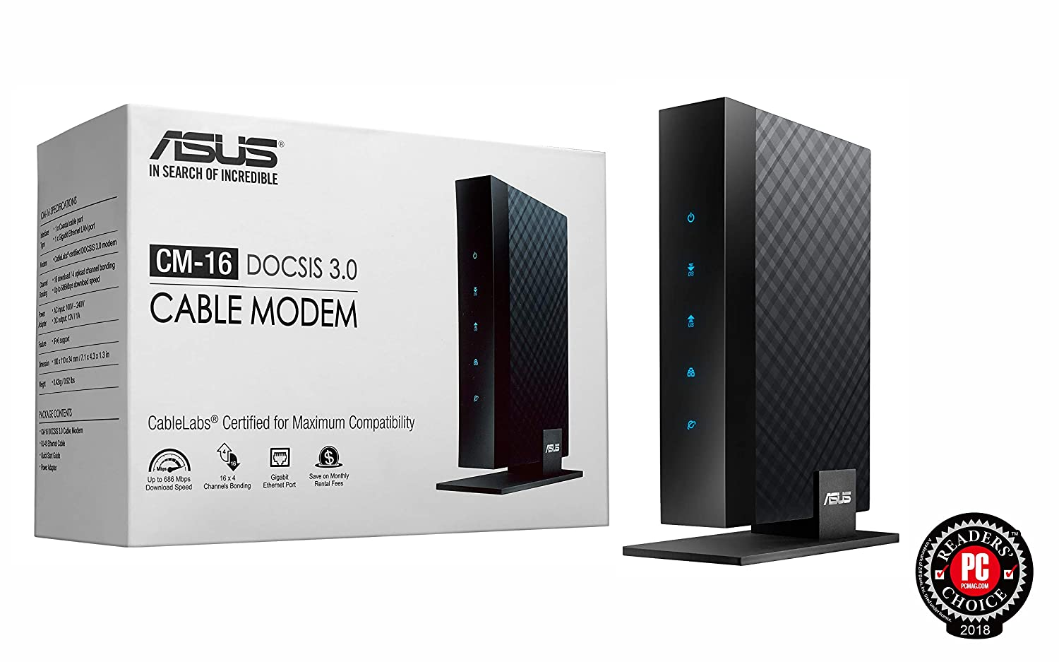 Asus CM-16 Docsis 3 0 Cablelabs-Certified 16x4 686 Mbps Cable Modem  Certified by Comcast Xfinity, Spectrum and Other Service Providers