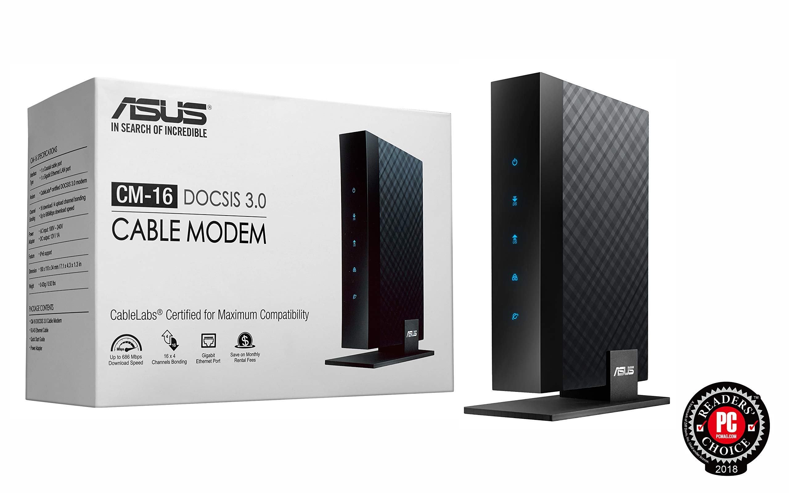 ASUS DOCSIS 3.0 High Speed 16 x 4 Cable Modem, Max. Download Speed 686 Mbps, Certified for Xfinity from Comcast, Spectrum and Cox , Separate wireless router required for Wi-Fi connectivity (CM-16)