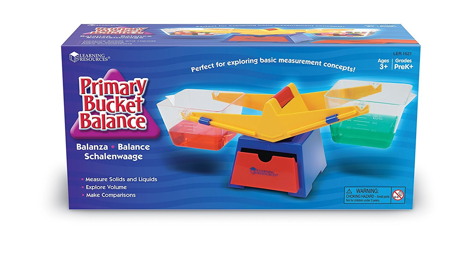 Learning Resources Primary Bucket Balance Teaching Scale, Science/Math, Classroom Scale, Science for Kids, Ages 3+
