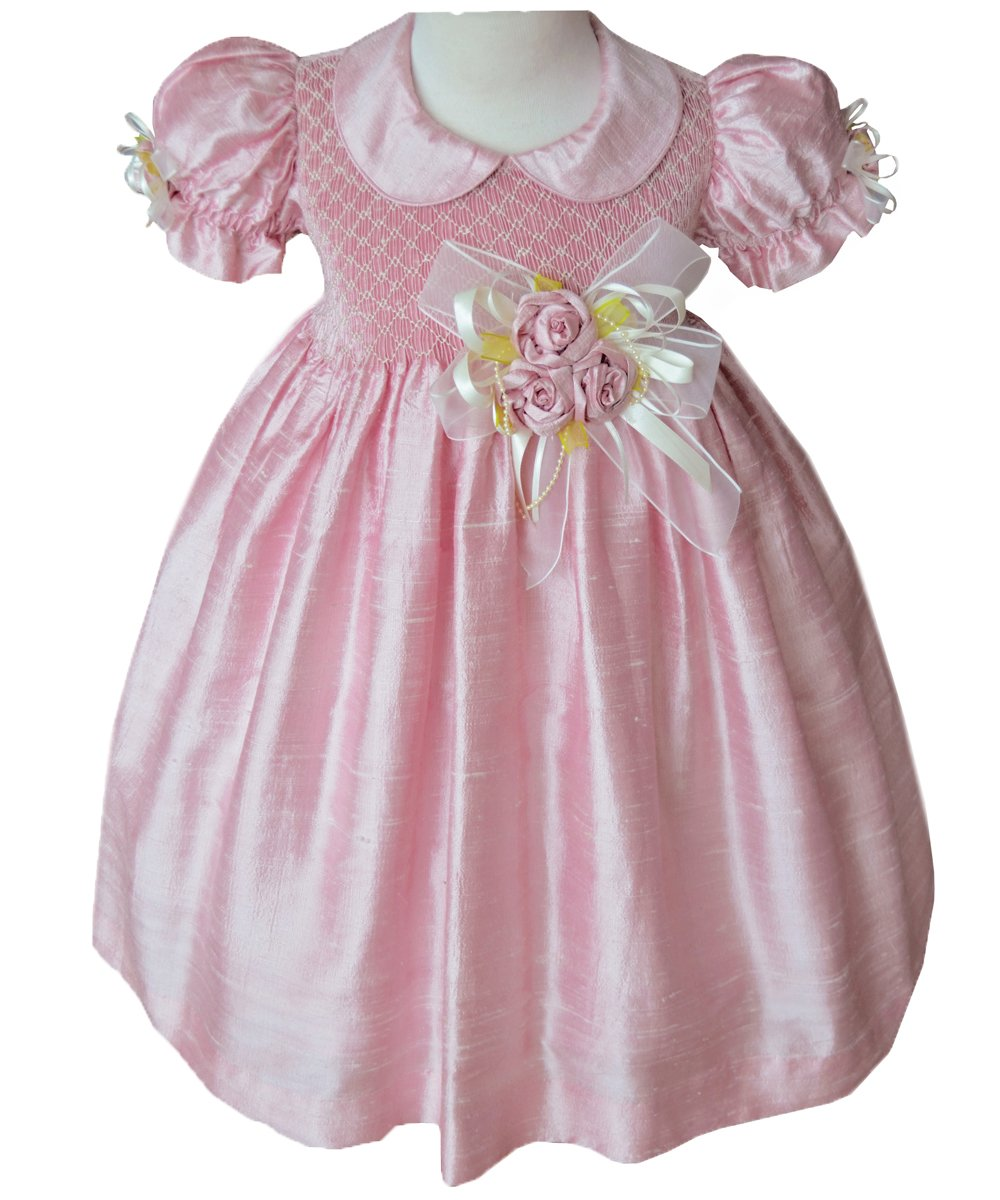Flower Girls Dress in Pink Silk with Hand Smocking Special Occasion and Pageants