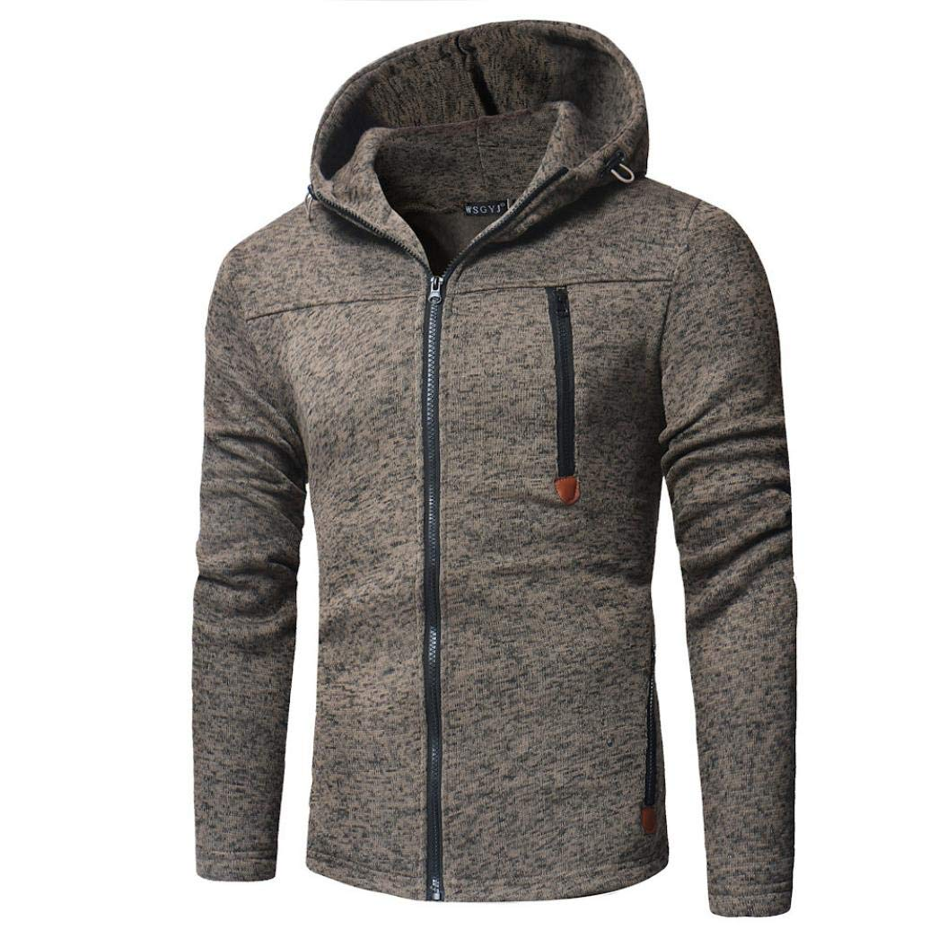 WUAI Mens Long Sleeve Hooded Sweatshirt With Zipper Pocket Slim Fit Lightweight Zip up Hoodie Jacket (Brown,US Size 2XL = Tag 3XL)