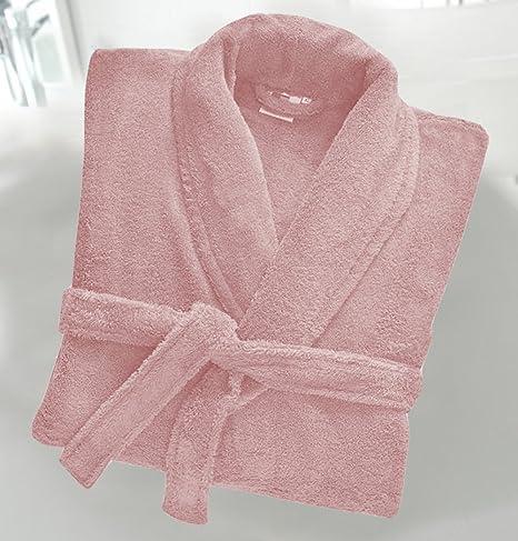 Casabella - Albornoz de rizo de 500 g/m², 100 % algodón, con cuello esmoquin, unisex, algodón, Rosa, S/M: Amazon.es: Hogar