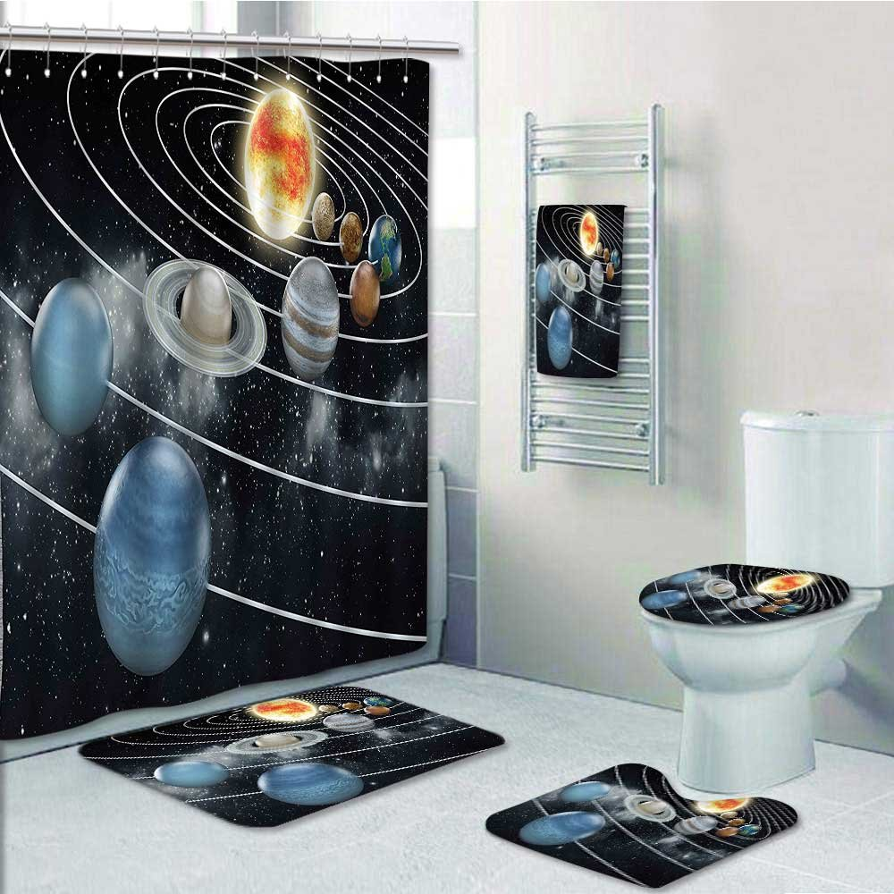 vanfan 5-piece Bathroom Set-Includes Shower Curtain Liner,Solar System all Eight Planets and the Sun Pluto Jupiter Mars Venus Science Decorate the bathroom(Large size)