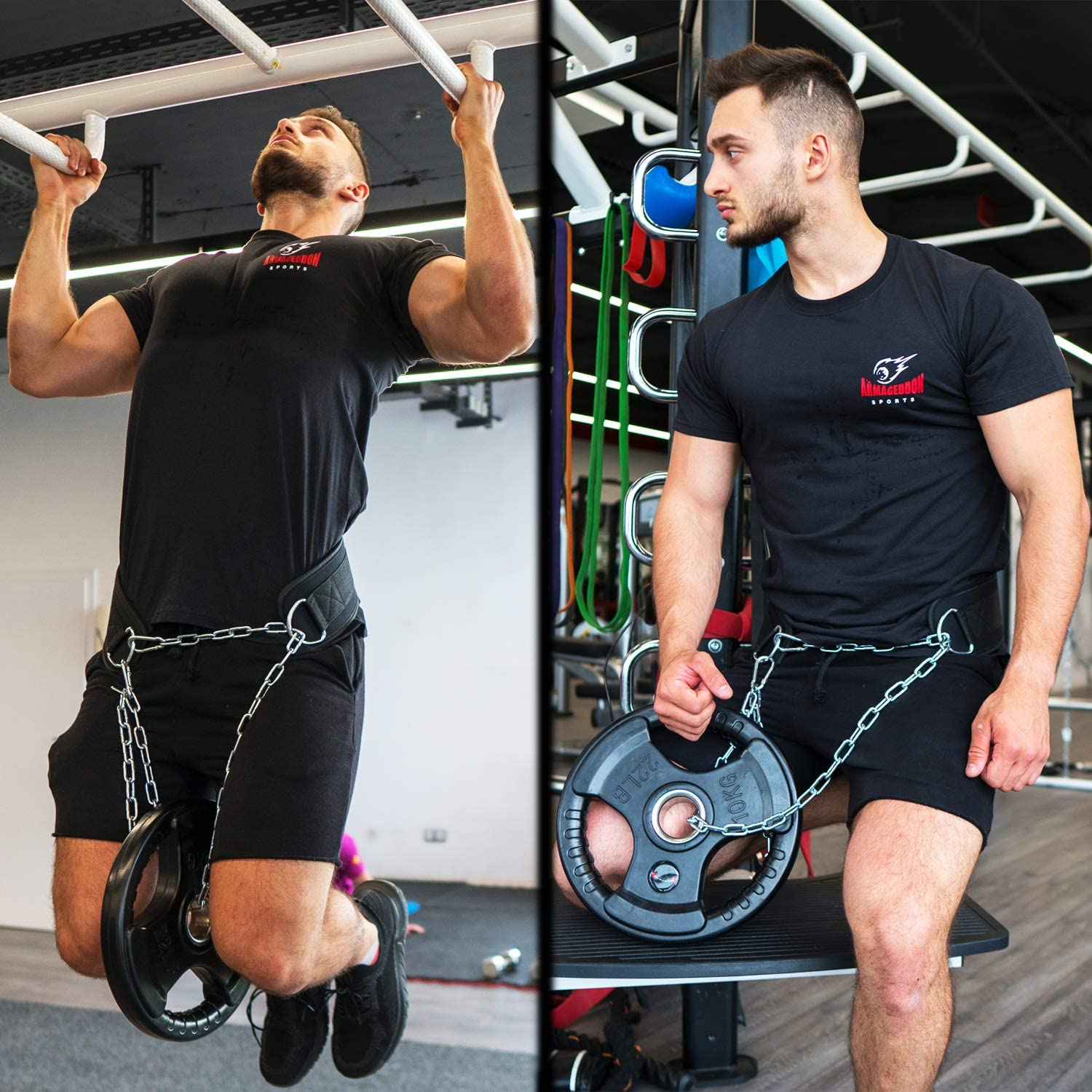 Details about  /Weight Lifting Belt Thick Pull Up Chain Neoprene Dipping Fitness Gym Training