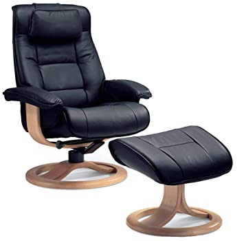 Cool Fjords Mustang Small Leather Recliner Chair And Ottoman Norwegian Ergonomic Furniture Nordic Line Genuine Black Leather Walnut Wood Machost Co Dining Chair Design Ideas Machostcouk