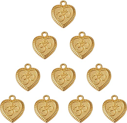 DIY Charms Gold Hearts Pendants Gold Plated jewellery Making Accessories