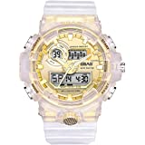 SBAO Analog-Digital Gold Dial Translucent Strap Mens/Boys Watch - SB - 472
