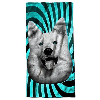 Carina Huskey Animale Cane Animale Divertimento 30 cm x 60 cm Toalla de playa | Wellcoda. Pasa ...