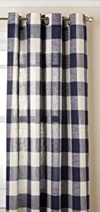 "Lorraine Home Fashions 09570-63-00220 NAVY Courtyard Grommet Window Curtain Panel, Navy, 53"" X 63"""