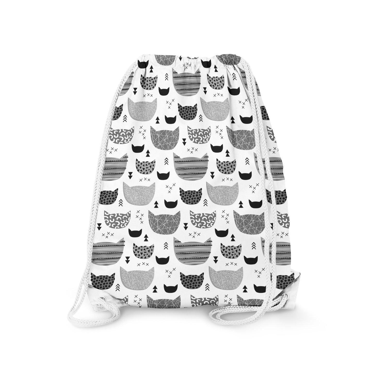 Inky Texture Cats Grey - Large (13.3 x 17.3) - Drawstring Bag