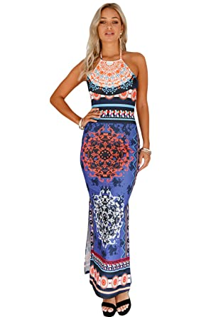 d7c1519b46 Image Unavailable. Image not available for. Color: Voguard Sexy Women African  Tribal Print Halter Neck Low Back Maxi Dress-multicolored