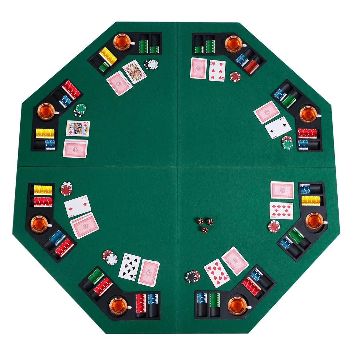 48'' Green New Home 8 Players Octagon Fourfold Poker Table Top Portable Game Space Saving Durable Long Lasting Use by USA_Best_Seller
