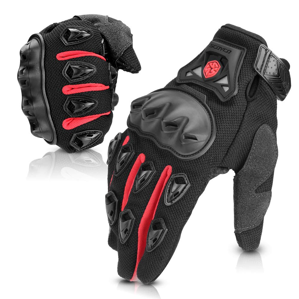 Issyzone Motorcycle Gloves Summer Full Finger Air-permeable Protective Hard Knuckle Protection Racing Gloves