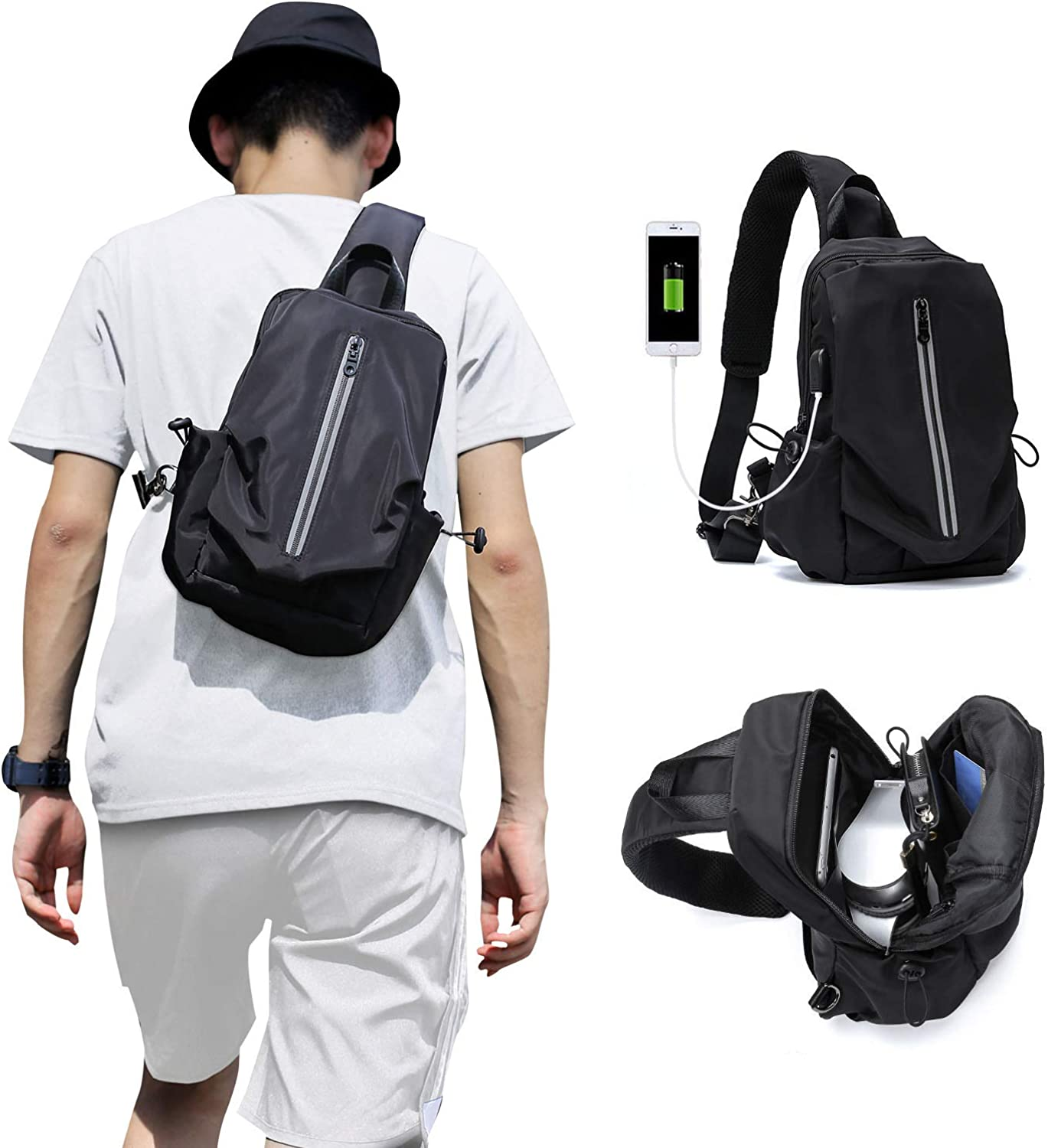 Small Sling Backpack Bag, One Strap Backpack Cross Body Bag For Men Women, One Shoulder Backpack For Hiking Cycling Walking Travel Work Gym Camping Usb Charger Port – Nylon
