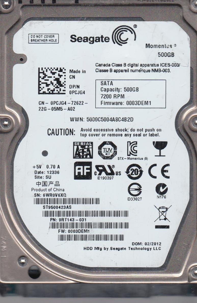 Amazon com: Seagate ST9500423AS 500GB SATA 7 2K RPM 2 5IN IM