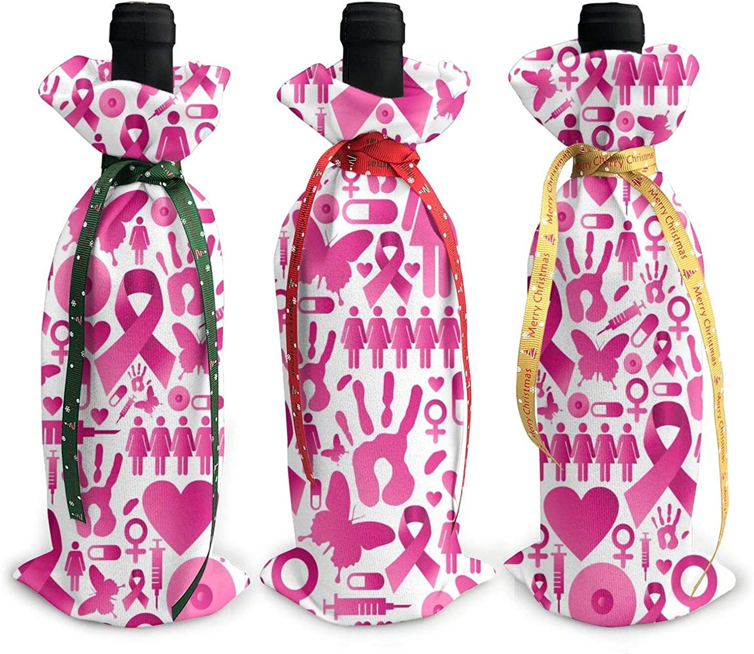 Christmas Wine Bottle Decoration Bag For New Year Wedding Wine Tasting Party Dinner Decor Holiday Ornaments 3pcs Wine Bottle Cover Bags,Xmas Gift Breast Cancer Awareness Pink Ribbons Butterfly