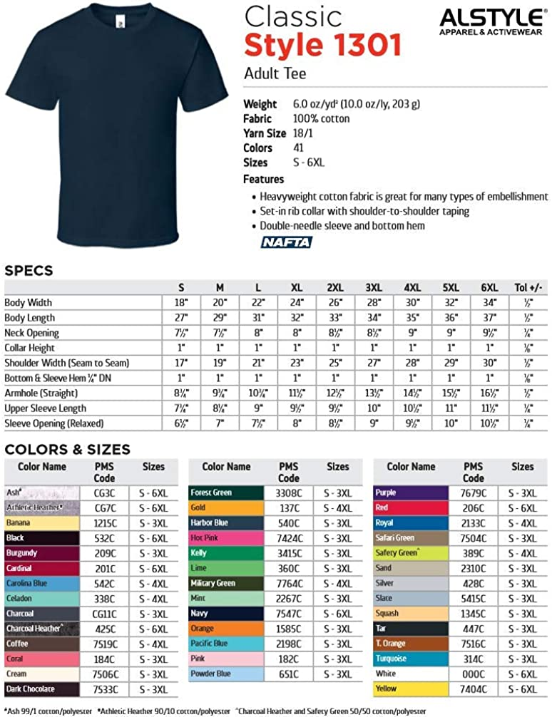 Alstyle AAA 1301 Blank T Shirt For Adults 100/% Cotton S-6XL Many Size and Colors