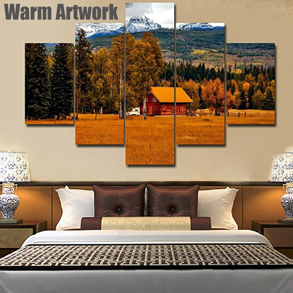 Rustic Wall Decor Log Cabin Extra Large Landscape Painting on Canvas Modern Artwork Nature Scene in Autumn Pictures Giclee Home Decor for Living Room Framed Gallery-wrapped Ready to Hang(60''Wx40''H)