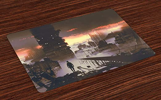 ABAKUHAUS Fantasía Salvamantel Set de 4 Unidades, Sci-Fi Vacío Robot City, Material Lavable Estampado Decoración de Mesa Cocina, Salmón Oscuro Gris Pardo: Amazon.es: Hogar