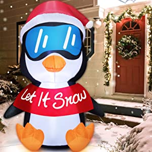 TURNMEON 6 Feet Christmas Inflatables Decoration Santa Penguin Christmas Decorations Inflatables with LED Light Stakes Tethers Christmas Inflatables Outdoor Decoration Blow Up Holiday Yard Decoration