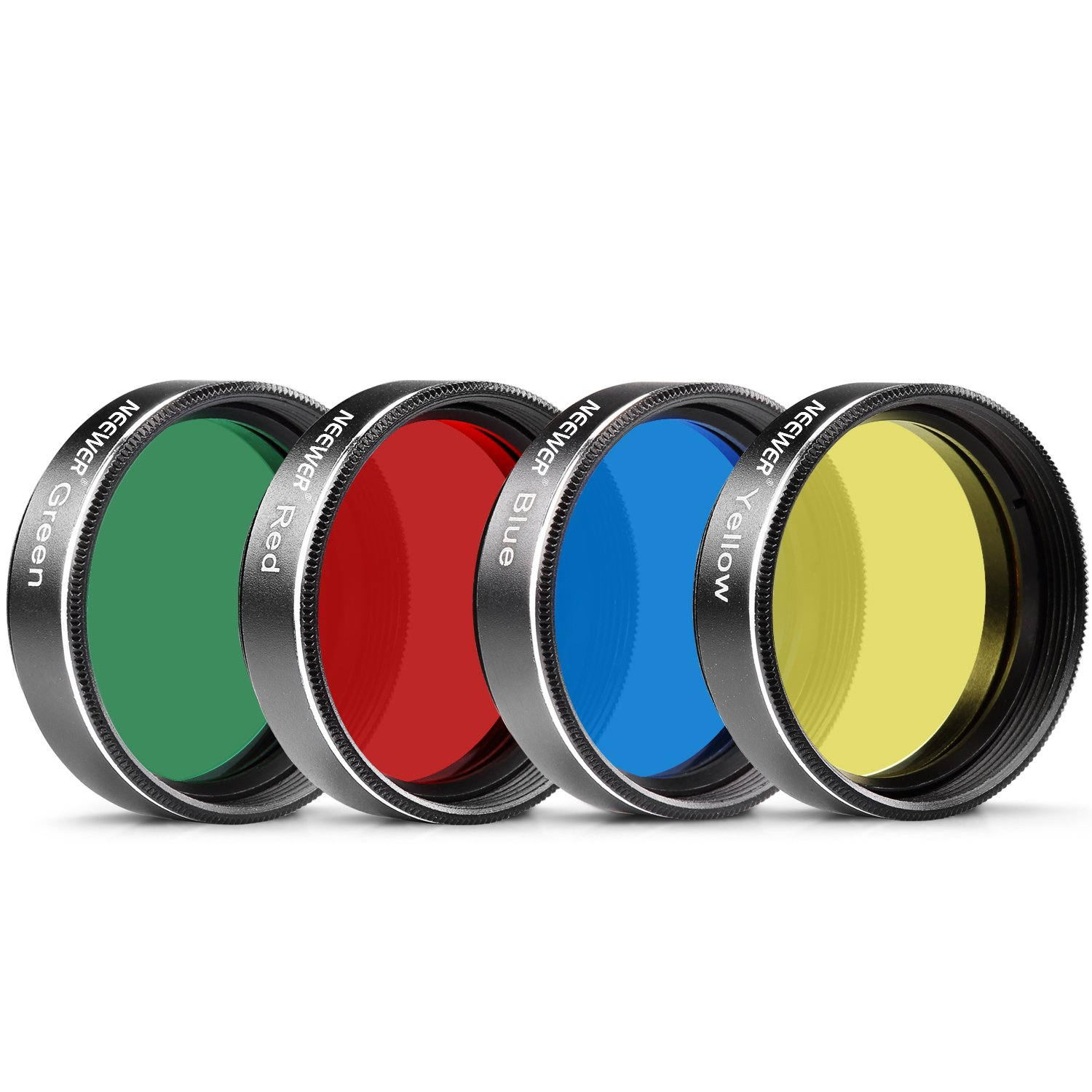 Neewer 4PCS Standard 1.25 inches Color Filter Set for Telescope Eyepiece: Red Yellow Green Blue, Perfect for Lunar and Planetary Observation