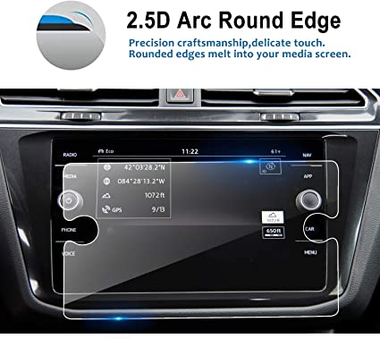 LFOTPP Replacement for 2018 2019 Volkswagen Tiguan 8 Inch Tempered Glass Car Navigation Screen Protector, Infotainment Center Touch Display Screen ...