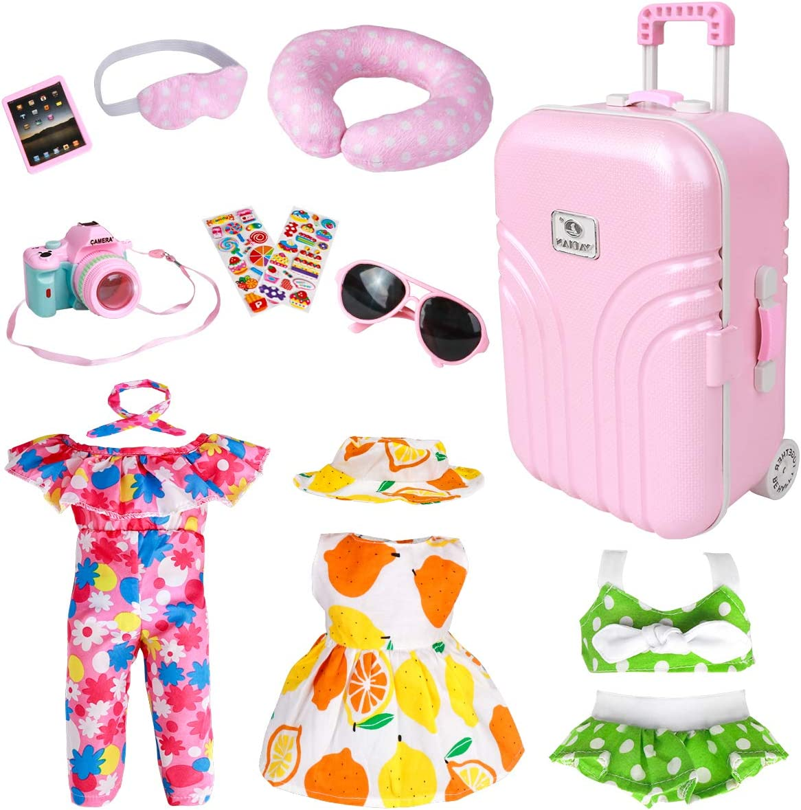 18 Inch Doll Travel Play Set - Doll Accessories with Carry on Suitcase Luggage, 3 Sets of Doll Clothes, Doll Travel Gear Play Set Fit American Girl