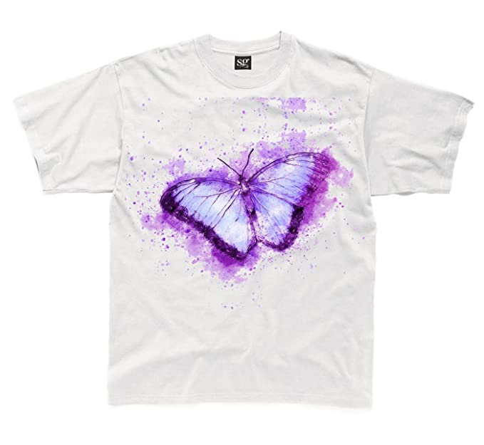 666ea10bcef5 Butterfly Animal Design Drawing Children's Unisex T Shirt (3 To 4, White)