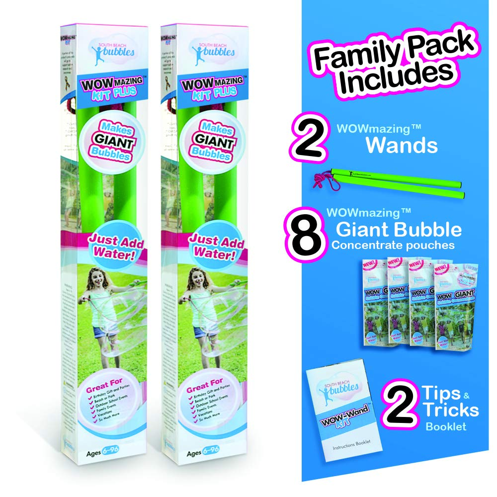 WOWMAZING Giant Bubbles Family Pack - Best Value - Big Bubbles kit Including Big Bubble Wand and Giant Bubble Solution Concentrate (Makes 2 Gallon of Large Bubbles) by WOWMAZING (Image #1)