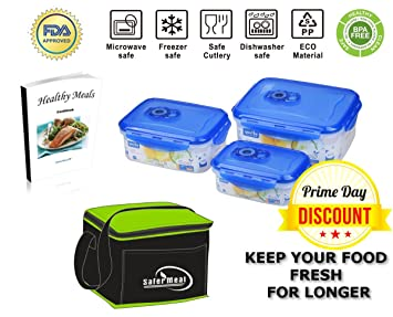SaferMeal™ Vacuum Food Containers, Set Of 3 + Bonus (Insulated Lunch Bag)