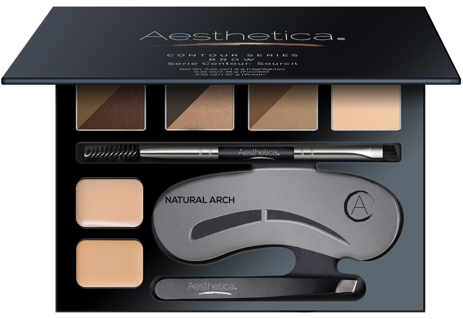 Aesthetica Brow Contour Kit - 16-Piece Eyebrow Makeup Palette - 6 Eyebrow Powders, 5 Eyebrow Stencils, Spoolie/Brush Duo, Tweezers, Brow Wax, Highlighter, Concealer & Instructions
