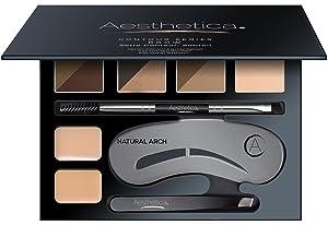 Aesthetica Brow Contour Kit - 16-Piece Eyebrow Makeup Palette - 6 Eyebrow Powders, 5 Eyebrow Stencils, Spoolie/Brush Duo, Tweezers, Brow Wax, Highlighter, Concealer & Instructions