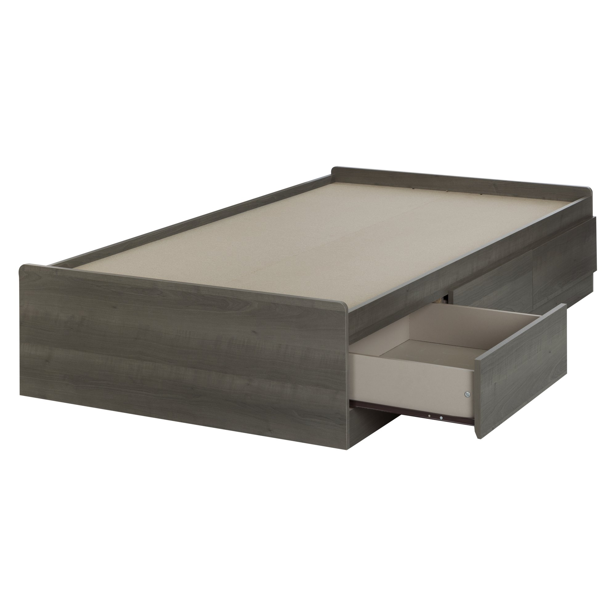 South Shore Savannah 39'' Mates Bed with 3-Drawers, Twin, Gray Maple