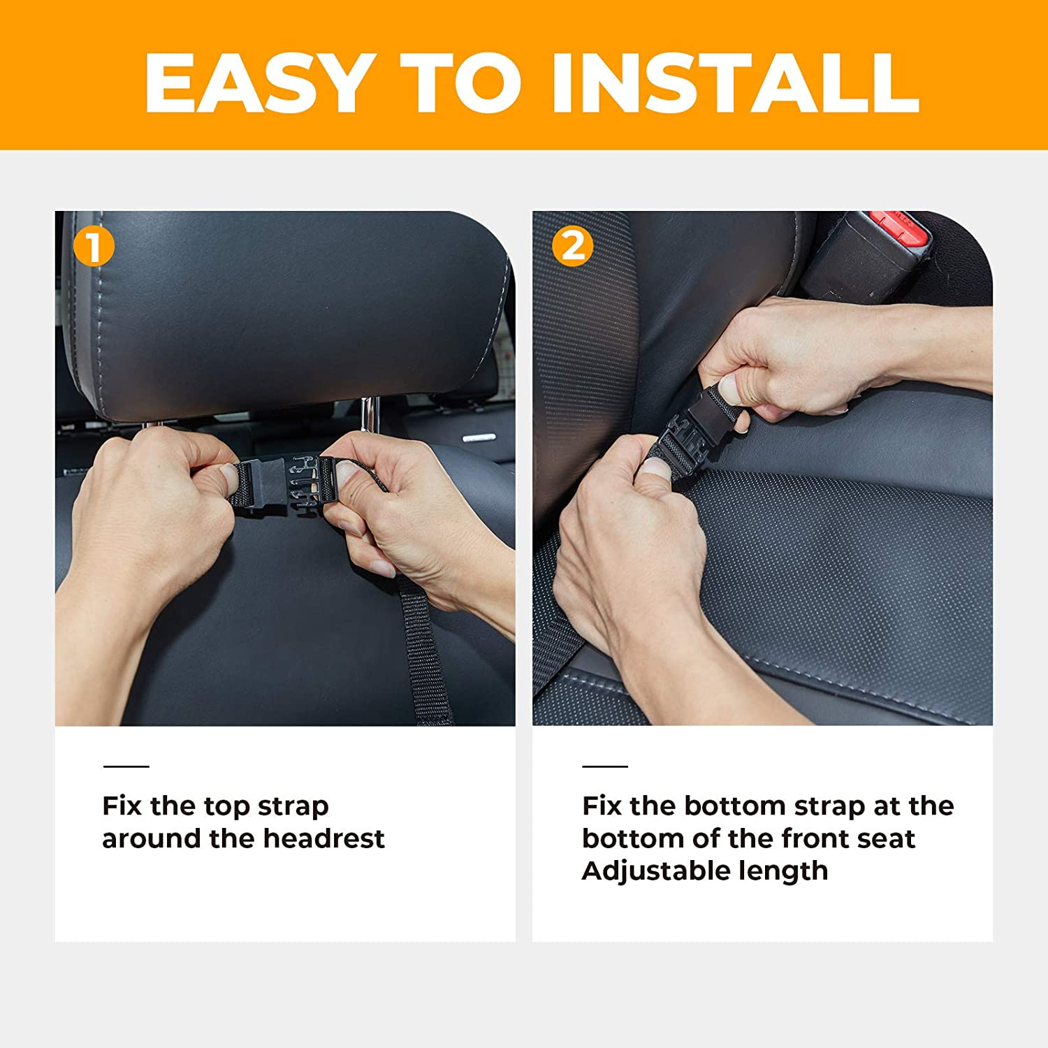 JOYTUTUS Backseat Car Organizer Black 2 Pack Car Organizer Backseat Kids Universal Kick Mats Back Seat Protector with Clear Screen Tablet Holder for Toys Drinks Book Kids Toddler Tra