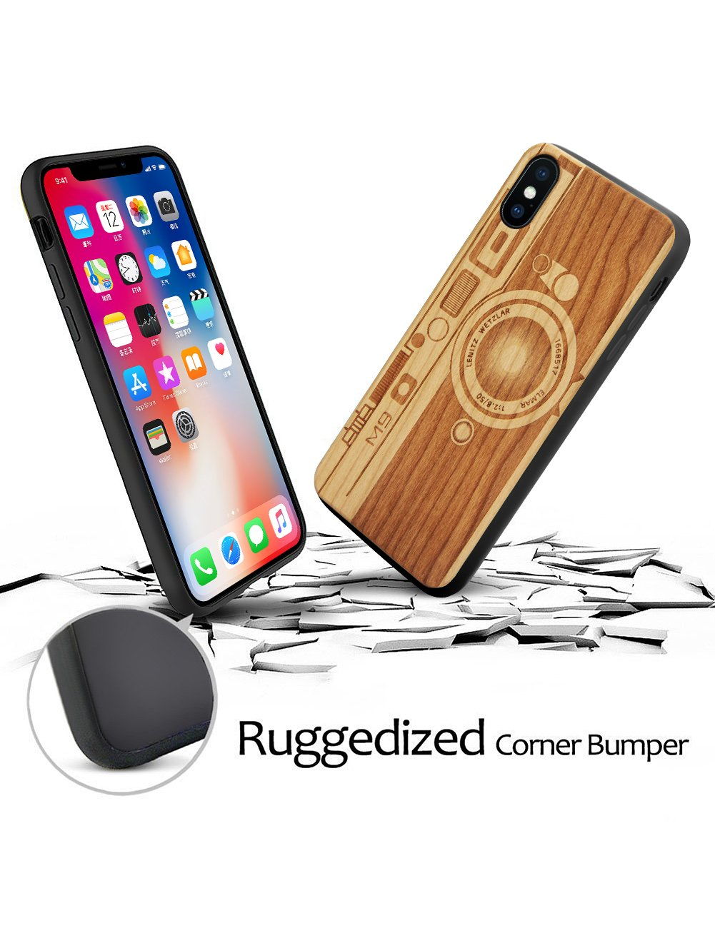 Compatible For Wood Iphone Xs Max Case Real Wood Unique Handmade Engraving Pattern Shock Absorbing Bumper Slim Cover For Iphone Xs Max